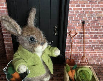 Needle felted collectable toy - James the Rabbit