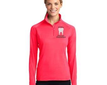 Dental Assistant Zip Athletic Dri-Fit Lightweight Pullover Jacket. Dental Hygienist Pullover. RDA RDH Athletic Pullover Jacket. SM-LST850.