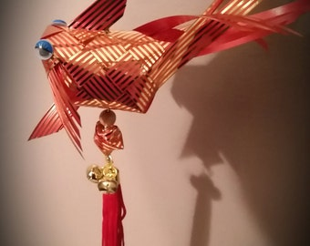 Origami Ribbon Weaving -  lifesize Goldfish Hanging Ornament