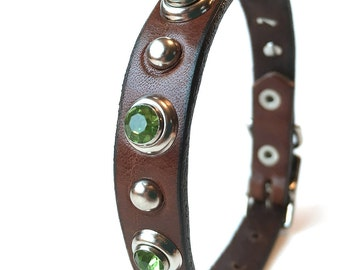 Chocolate Mint Leather Dog Collar, Size XS/S, Small Dog to fit an 8-11in Neck, Extra Small Dog, OOAK
