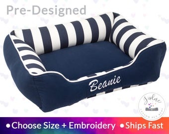 Blue & White Dog Bed | Stripe, Personalized, Navy Blue | Washable, Reversible and High Quality - Ships Fast!