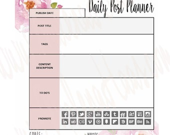 Daily Blog or Vlog Post Planner Insert for Your Planner - Can Work with Happy Planner, Bullet Journal, Erin Condren and More!