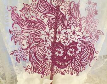Skull Cake Topper - Halloween Cake Topper - Skull Birthday Party - Skull Decorations - Skull Party - Baby Shower - Custom Color - Elegant