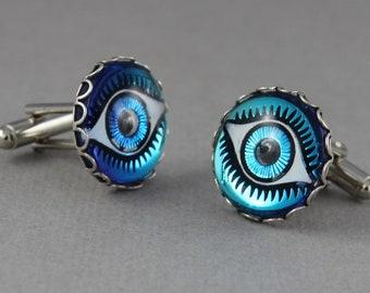 I Have My Eye on You - Vintage glass cufflinks in Aqua Blue