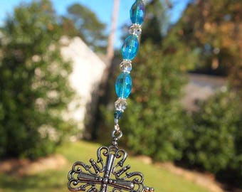 Rear View Mirror Charm Rear View Mirror Ornament Cross Rear View Mirror Charm Car Bling Christian Sun Catcher Handmade Gift for Her