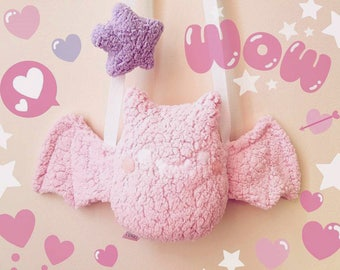 Pink Bat Plush Purse - Kawaii Purse, Cute Plush Purse