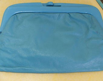 Vintage 1980s clutch bag, vinyl blue