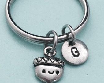 Acorn keychain, acorn charm, nature keychain, personalized keychain, initial keychain, customized keychain, monogram