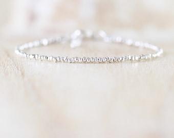 Dainty Beaded Sterling Silver Bracelet. Delicate Karen Hill Tribe Stacking Bracelet. Bead Jewellery. Jewelry. Adjustable Skinny Bracelet