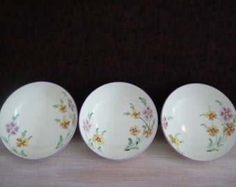 3 x Plant Tuscan China Bowls, Made In England , Cream with Flower Pattern 1930's Retro Vintage Mid Century