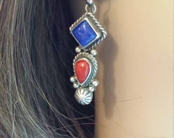 Sterling silver native American coral and lapiz dr