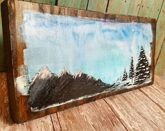 Snowy Landscape; Mountains & trees watercolor on wood