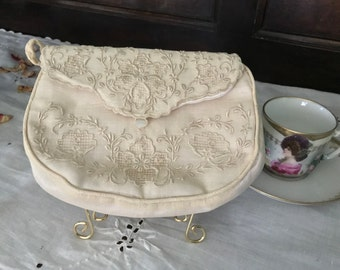 French Antique Cutwork Embroidered Linen Bridal Clutch Purse, Complete with Matching Linen Hankie and Bakelite Comb, c. 1900