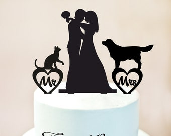 Wedding Cake topper with Cat and Dog,Wedding Cake topper with Dog and Cat,topper with dog and cat,Topper for wedding,rustic cake topper 1084