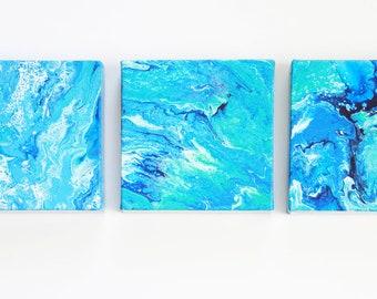 Acrylic painting, ocean art, blue wall art, painting, fluid painting, triptych, small works, beach art