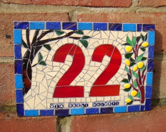 Mosaic House Number, sign,plaque, numberplate, door number, yard art, house number,street sign,address,bespoke, lemons,olive tree,