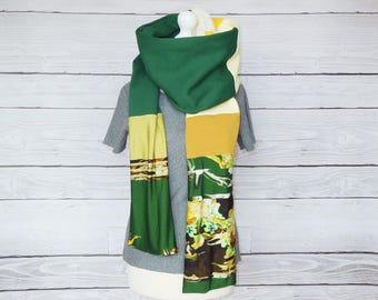 Green yellow long scarf mourade, bottle green scarf print, lots of fabrics, cotton shawl