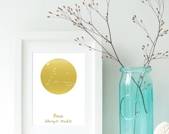 Pisces Zodiac Constellation Alternative, Astrology, Star Signs, Horoscope. Real Foil Print. Home Decor. Homemade Gift. Love. Personalised,