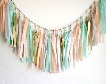 COOL PASTELS Tissue Paper Tassel Garland, Tissue Paper Tassels, Wedding, Tassel Garland, Party Banner, Tassels, Pastel Tassels