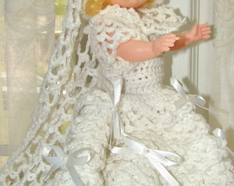 """Vintage Doll Wedding Gown 13"""" Doll. White Crochet Wedding Gown and Veil for 13"""" or Larger Doll with Bows and Tiny Pearl Detail."""