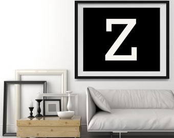 Letter Z in 4 color choices, Monogramed Photo Print or Canvas kids Wall art