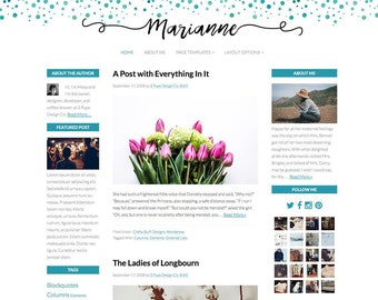 Wordpress, Turquoise Blue Watercolor Wordpress Theme, Genesis Child Theme, Responsive Website Template