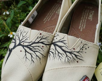 Custom Hand Painted TOMS -- The Tree --,Toms,art,painting,shoes,Canvas Classic TOMS Shoes