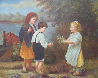 LARGE Vintage Oil Painting with Children
