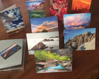 Set of 9 blank 4x6 inch greeting cards with silver envelopes of nature and landscape photography