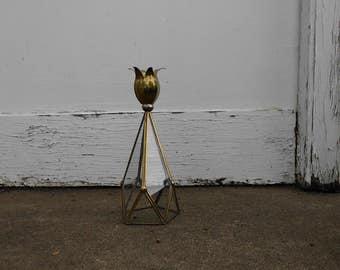 Mod Brass & Glass Candle Holder
