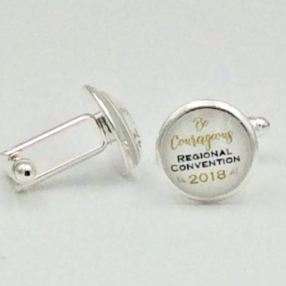"JW ""Be Courageous 2018 Regional Convention"" Cufflinks Silver-tone and Glass.  Blue Velvet gift bag"