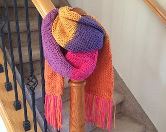 Cheerful and Colorful Knit Scarf with Fringe - Soft and Cozy