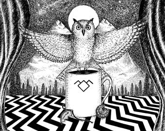 The Owls Are Not What They Seem- A4 print- Twin Peaks Inspired- Free worldwide shipping