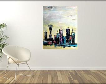 Mid-century modern art Seattle uptown skyline - googie mcm original painting wall art mcm