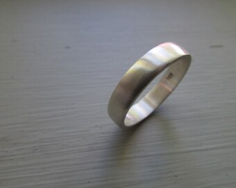 Wedding ring, mens band, sterling silver, half rounded, 4.5mm wide, handmade, simple ring, modern