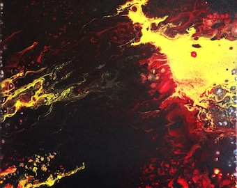 Ignite Acrylic Flow Painting on Canvas