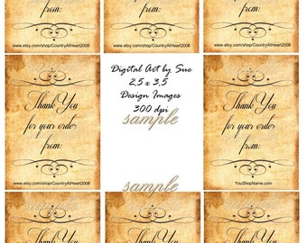 Instant Download Thank you for your Order Tags- 2.5 x 3.5 - ACEO  - U Print - Printable  Digital Collage Sheet