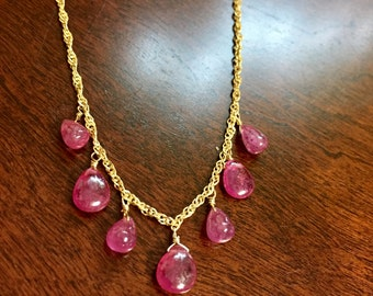 Ruby in 925 Sterling Silver necklace fine jewelry