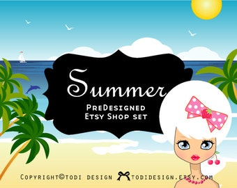 Summer - PreDesigned Etsy Shop Banner set - Bow Boutiques, Hair Accessories