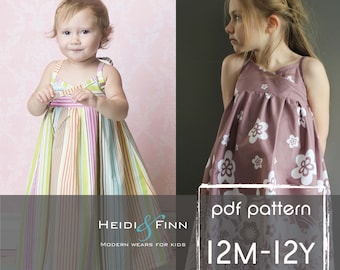 Summer Maxi Dress pattern and tutorial PDF 12m-12y easy sew long tank dress tunic