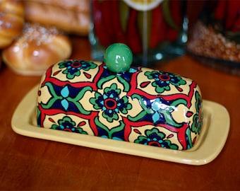 "Yellow, Red & Teal Talavera Style Butter Dish -- ""Starburst Flower"""