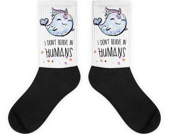 Cute Narwhal socks, Narwhal gift, Whale socks, Narwhal lover gift, Unicorn socks men, Unicorn socks women, Socks with unicorn, Whale gift