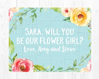 Flower Girl Puzzle Proposal Flower Girl Proposal Card Flower Girl Proposal Gift Will You Be My Flower Girl Proposal Puzzle Pink Blue