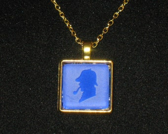 Sherlock Holmes Etched Glass Pendant Necklace 24 inch