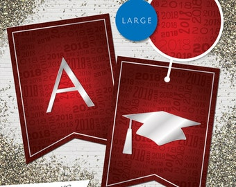 Large Red & Silver 2018 Printable Banner  |  All Letters 0-9 numbers Graduation, Birthday, Congratulations, Anniversary