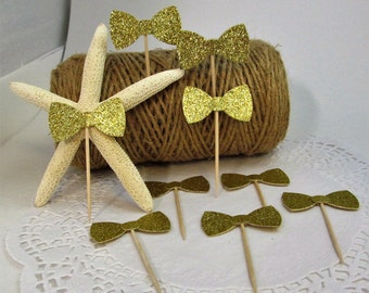 12 Gold Glitter Bow Tie Cupcake Toppers - Birthday - Baptism - Birthday - Weddings - Rehearsal Dinners - Food Pick - Dessert