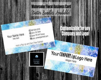 Watercolor floral wreathe business card customizable for watercolor floral business card direct sales mlm card and bundles home office approved branding guide fonts colors available digital colourmoves