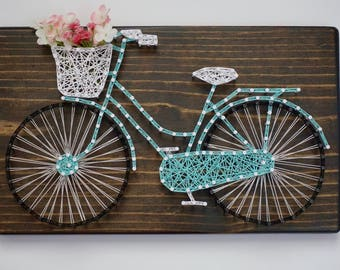 Bicycle String Art, Bicycle Sign, Bicycle Wall Decor