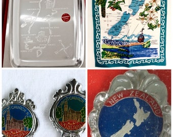 Kiwiana Collection, 1970s Starlon Stainless Steel Serving Tray, Map of New Zealand Tea Towel, NZ Souvenirs, Christchurch Cathedral Spoons