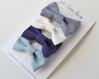Fabric Hair Bow Set -  Baby Headband Set - Girls Hair Clip Set - Linen Baby Bows - Blue Hair Bows - Linen Hair Bow Set